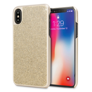 Indulge your iPhone X with this luxurious gold shell case from LoveCases. Your iPhone X fits perfectly into the secure, durable frame, while a shimmering curtain of gems adorns the back, adding a touch of class to your already-gorgeous device.