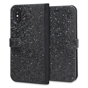 Form meets function in this elegant, understated yet undeniably indulgent wallet case for iPhone X. Embedded crystals adorn the front and back of this case, adding a shimmering grace, while 2 card slots allow you to store cards, ID and more.