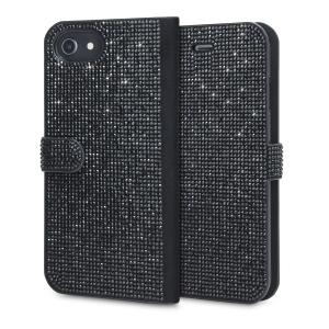 A la fois belle et pratique, cette housse de type portefeuille protégera votre iPhone 8 / 7 / 6S / 6 tout en lui ajoutant une note d'élégance. Des cristaux sont intégrés à l'avant et à l'arrière de cette housse qui dispose de 2 emplacements pour ranger des cartes de crédit ou autres. A noter qu'elle est également compatible avec les iPhones 6S Plus et 6 Plus.
