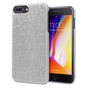 Indulge your iPhone 8 Plus / 7 Plus with this luxurious silver case from LoveCases. Your iPhone fits perfectly into the secure, durable frame, while a curtain of gems adorns the back, adding a touch of class. Also compatible with 6S Plus / 6 Plus.