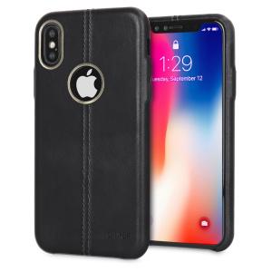Housse iPhone X Olixar Premium en cuir véritable – Noire