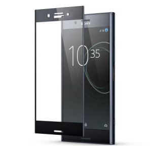 This ultra-thin tempered glass full cover screen protector for the Sony Xperia XZ1 Compact from Olixar with black front offers toughness, high visibility and sensitivity all in one package.