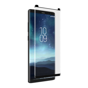This contoured glass screen protector from InvisibleShield for Samsung Galaxy Note 8 covers even the curved edges of your device, while also sporting an ergonomic design engineered to be compatible with a wide range of cases.