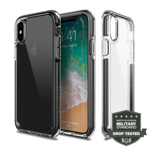 Custom moulded for the iPhone X. This black and clear Patchworks Lumina EX case provides a slim fitting stylish design and rugged reinforced protection against damage, keeping your device looking great at all times.