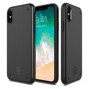 The Patchworks Flexguard in black is a stylish and ergonomic protective case for the iPhone X, providing impact absorption and improved grip due to the attractive textured patterned surface.
