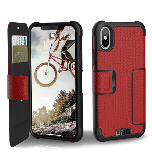 Equip your iPhone X with extreme, military-grade protection and storage for cards with the Metropolis Rugged Wallet case in red from UAG. Impact and water resistant this is the ideal way of protecting your phone and providing card storage.
