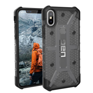 The Urban Armour Gear Plasma semi-transparent tough case in ash grey and black for the iPhone X features a protective case with a brushed metal UAG logo insert for an amazing rugged and stylish design.