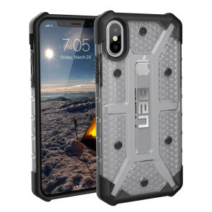 The Urban Armour Gear Plasma semi-transparent tough case in ice clear and black for the iPhone X features a protective case with a brushed metal UAG logo insert for an amazing rugged and stylish design.