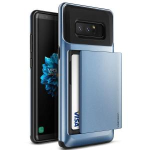 Protect your Samsung Galaxy Note 8 with this precisely designed case in blue coral from VRS Design. Made with tough yet slim material, this hard shell construction with soft core features patented sliding technology to store two credit cards or ID.