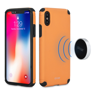 This attractive orange rugged mesh case from Olixar provides a perfect fit, superior grip and durable protection against scratches, knocks and drops. It also hides a magnetic plate for easy mounting on the two included adhesive magnetic holders