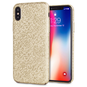 Enhance and protect your iPhone X with this glamorous gold case from LoveCases. Your iPhone fits perfectly into the secure, durable frame, while a shimmering chequered mosaic adorns the back, adding a touch of class to your already-gorgeous device.