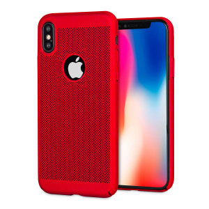 A supremely precision engineered lightweight slimline case in brazen red with a perforated mesh pattern that looks great, adds grip and aids heat dissipation from your iPhone X, as well as enhance the high performance beauty of the device.