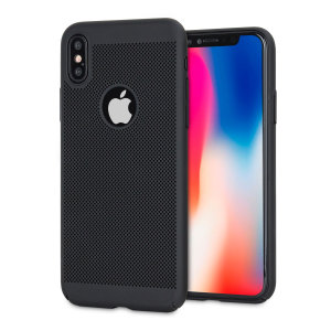 A supremely precision engineered lightweight slimline case in tactical black with a perforated mesh pattern that looks great, adds grip and aids heat dissipation from your iPhone X, as well as enhance the high performance beauty of the device.