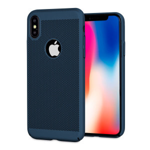 A supremely precision engineered lightweight slimline case in deep ocean blue with a perforated mesh pattern that looks great, adds grip and aids heat dissipation from your iPhone X, as well as enhance the high performance beauty of the device.