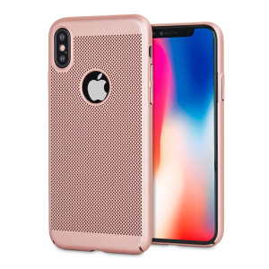 A supremely precision engineered lightweight slimline case in rose gold with a perforated mesh pattern that looks great, adds grip and aids heat dissipation from your iPhone X, as well as enhance the high performance beauty of the device.