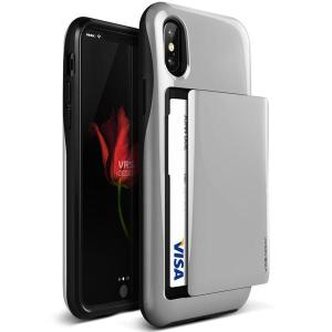 Protect your iPhone X with this precisely designed case in silver from VRS Design. Made with tough yet slim material, this hardshell construction with soft core features patented sliding technology to store two credit cards or ID.