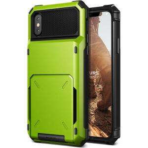 Protect your iPhone X with this precisely designed case in lime green from VRS Design. Made with tough yet slim material, this hardshell construction with soft core features patented flip technology to store credit cards or ID.