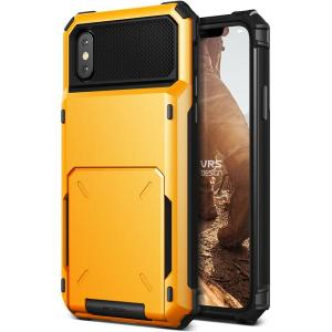 Protect your iPhone X with this precisely designed case in volcano yellow from VRS Design. Made with tough yet slim material, this hardshell construction with soft core features patented flip technology to store credit cards or ID.