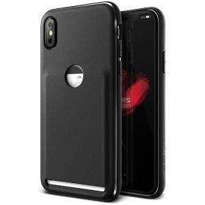 Protect your iPhone X with this lightweight case in black from VRS Design. Made with robust flexible material, this slim case features a pouch to store credit cards or ID.