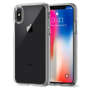Protect your iPhone X with the unique Ultra Hybrid crystal clear bumper from Spigen. Complete with a clear back and air cushion technology to show of and protect your iPhone's sleek modern design.