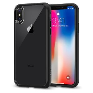 Protect your iPhone X with the unique Ultra Hybrid black bumper from Spigen. Complete with a clear back and air cushion technology to show of and protect your iPhone's sleek modern design.