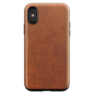 Protect your iPhone X with this stunning rugged case in Rustic Brown by Nomad. Made from a premium Horween genuine leather, this case was designed and tested to military standards. The Nomad iPhone X Rugged Case features up to 10ft of drop protection.