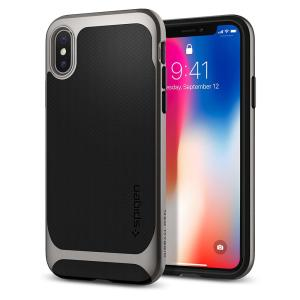 The Spigen Neo Hybrid in gun metal is the new leader in lightweight protective cases. Spigen's new Air Cushion Technology reduces the thickness of the case while providing optimal corner protection for your Apple iPhone X.