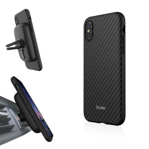Protect your stunning iPhone X with the AER Karbon in black from Evutec. The AER Karbon features Evutec's all-new proprietary material Evusoft, which offers second-to-none shock absorption. Also comes complete with AFIX magnetic in-car vent mount.