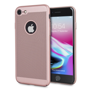 A supremely precision engineered lightweight slimline case in rose gold with a perforated mesh pattern that looks great, adds grip and aids heat dissipation from your iPhone 8 / 7, as well as enhance the high performance beauty of the device.