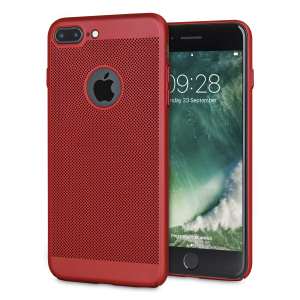 A supremely precision engineered lightweight slim case in brazen red with a perforated mesh pattern that looks great, adds grip and aids heat dissipation from your iPhone 7 Plus, as well as enhance the high performance beauty of the device.