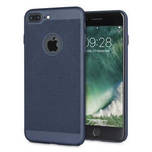 A supremely precision engineered lightweight slim case in marine blue with a perforated mesh pattern that looks great, adds grip and aids heat dissipation from your iPhone 7 Plus, as well as enhance the high performance beauty of the device.