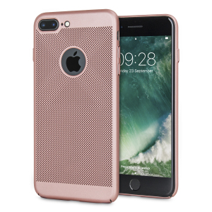 A supremely precision engineered lightweight slim case in rose gold with a perforated mesh pattern that looks great, adds grip and aids heat dissipation from your iPhone 7 Plus, as well as enhance the high performance beauty of the device.