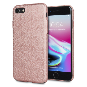 Enhance and protect your iPhone 8 / 7 with this glamorous rose gold case from LoveCases. Your iPhone fits perfectly into the secure, durable frame, while a shimmering chequered mosaic adorns the back, adding a touch of class to your gorgeous device