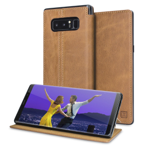 Lavish your Samsung Galaxy Note 8 with a luxurious flip wallet case. Featuring a tan genuine leather exterior with beautiful stitching details, this Olixar wallet case will also store your credit and debit cards.
