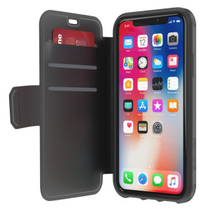 The Survivor Strong wallet case by Griffin in black houses the iPhone X within a form fitting case and encloses it with a sophisticated cover, as well as featuring 3 slots for debit and credit cards, cash, ID and more.