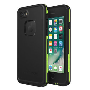 "Make your phone waterproof and experience the freedom to surf, sing in the shower, ski, snowboard, work on construction sites and have true iPhone 8 freedom anywhere you go with the LifeProof Fre case in ""night lite"" (black and green)."