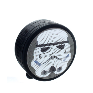A portable, compact and fun bluetooth speaker detailed with the head of the iconic Imperial Stormtrooper. Enjoy great sound and great times with the Star Wars Stormtrooper Bluetooth speaker. With light up features and awesome sound.