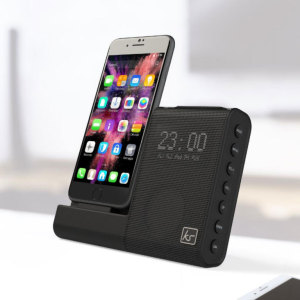 The X-Dock 4 is made specifically for devices with a Lightning connection including the iPhone 8 / 8 Plus / 7 / 7 Plus and other recent iPhones. This docking station and clock will wake you up with great sound.