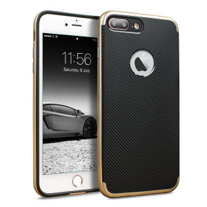 Hybrid layers of robust TPU and hardened polycarbonate with a premium matte finish non-slip carbon fibre design, the Olixar X-Duo case in black and gold keeps your iPhone 8 Plus safe, sleek and stylish.