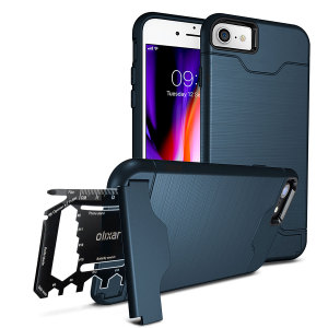 Prepare your iPhone 8 / 7 for the great outdoors with the rugged Olixar X-Ranger case in marine blue. With a handy kickstand and a secure compartment for the included multi-tool - or the card of your choice - you'll be ready for anything.