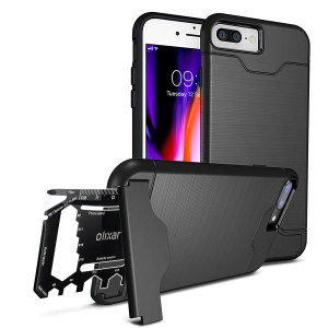 Prepare your iPhone 8 Plus / 7 Plus for the great outdoors with the rugged Olixar X-Ranger case in tactical black. With a handy kickstand and a secure compartment for the included multi-tool - or the card of your choice - you'll be ready for anything.
