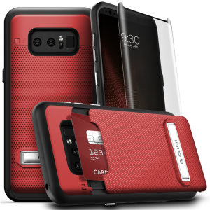 With a kickstand feature, hidden card compartment and included super-strong tempered glass screen protector, the Click case in red from Zizo is the perfect companion for your Samsung Galaxy Note 8. This is a hard-wearing, useful and attractive case.