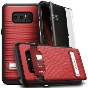 Dotée d'une béquille de visualisation, d'un compartiment pour y ranger votre carte bancaire, et d'une protection d'écran en verre trempé, la coque Zizo Click en coloris rouge est une solution tout-en-un et idéale pour protéger votre Samsung Galaxy Note 8. Robuste, élégante, résistante, utile et polyvalente, vous ne vous passerez plus de cette protection.