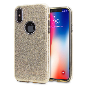 Coque iPhone X LoveCases Glitter - Or