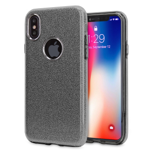 Indulge your iPhone X with this luxurious black case from LoveCases. Your iPhone fits perfectly into the secure, flexible frame, while a shimmering glitter design adorns the back, adding a touch of class to your already-gorgeous device.