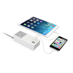 Never struggle to find a free USB charging port ever again, with the Macally UniStrip II  UK Wall Charger with a total of 4 USB ports (2x 2.4A and 2x 1A) and a wall charger outlet for super fast charging of your smartphones, tablets and USB devices.