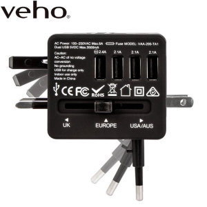 Veho TA-1 Universal 4-Port USB World Travel Mains Charger 3.5A - Black