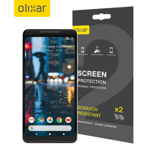 Keep your Google Pixel 2 XL screen in pristine condition with this Olixar scratch-resistant screen protector 2-in-1 pack.