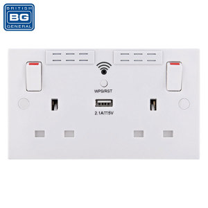 This ingenious BG wall socket boasts 2 AC mains sockets for laptops, hairdryers and other electronics, as well as a single 2.1A output USB port for charging mobile devices like tablets and phones. Also comes complete with built-in WiFi range extender.