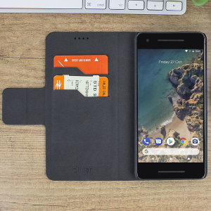 Protect your Google Pixel 2 with this durable and stylish black leather-style wallet case from Olixar, featuring two card slots. What's more, this case transforms into a handy stand to view media.